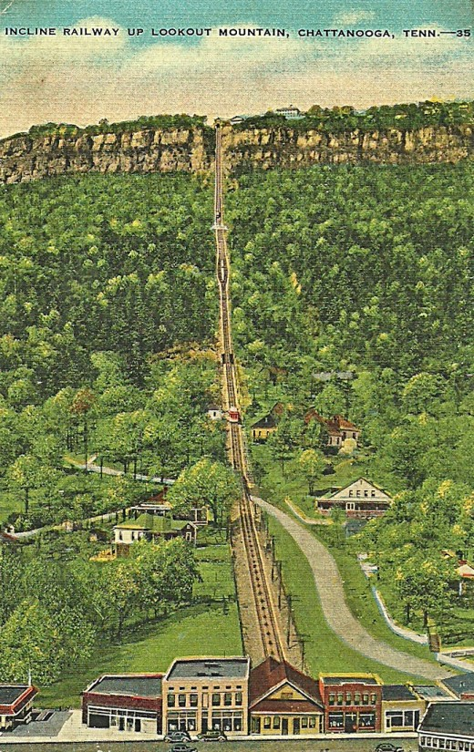 INCLINE RAILWAY UP LOOKOUT MOUNTAIN, CHATTANOOGA, TENN