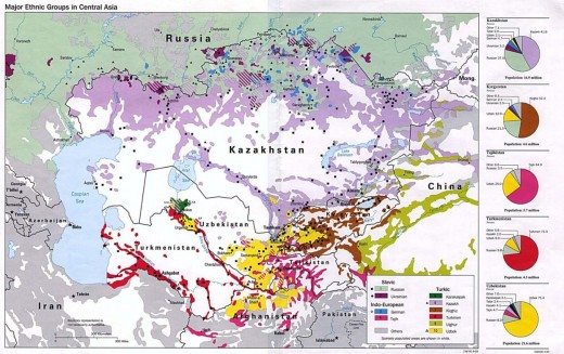 "Figure 3. ""Central Asia (Major Ethnic Groups)."" Map. University of Texas Libraries. US Central Intelligence Agency, 1993. Web. 19 Dec 2011."