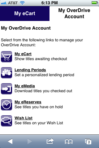 The standard OverDrive Account page on the iPhone.