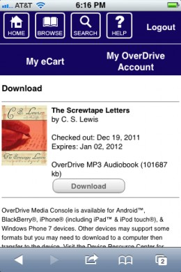 Checkout your electronic content through the OverDrive Media Console app.