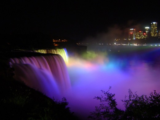 Niagara Falls at night (photo acquired at http://www.public-domain-photos.org/niagara-falls-at-night.html)
