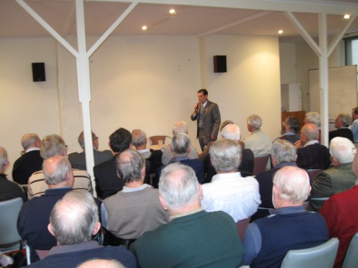 A good, compact audience, quiet and listening to every word.