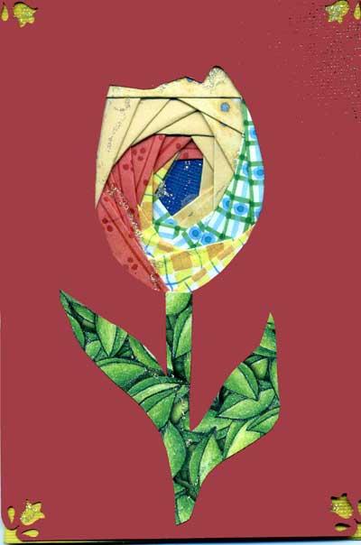 Tulip greeting card made with iris folding