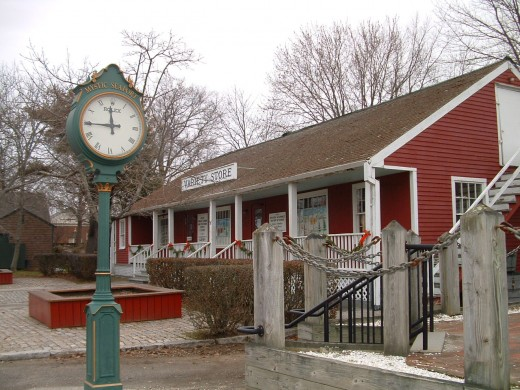 Photo of the general store and town clock.