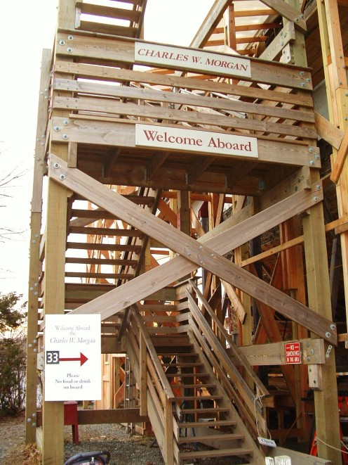 Photo of the scaffolding entrance to climb aboard the Charles W. Morgan.