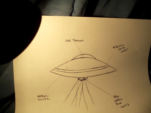 "- CLASSIC ""DISC"" or ""SAUCER"" SHAPE - A rough sketch made shortly after the encounter illustrates some of the peculiar unconventional features of the craft -"
