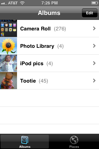 You'll be able to view a list of existing albums on your devices after opening the Photos app.