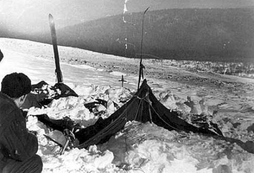 The camp as the rescuers found it on Feb. 26, 1959. The tent had been sliced open from inside, and most of the skiers appeared to have fled in socks or barefoot. Photo taken by soviet authorities at the incident site.