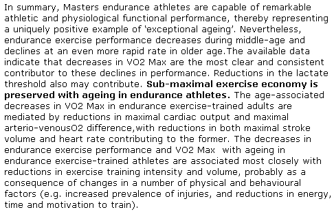 Endurance performance and Masters athletes