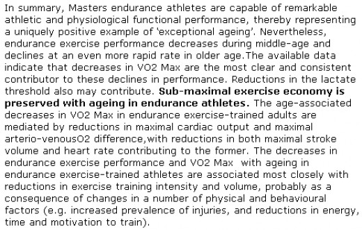 Endurance performance and Masters athletes