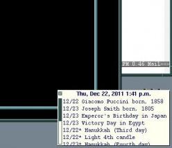 A xtick window that displays UNIX calendar appointments.