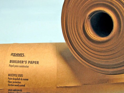"Heavy brown paper used for protecting floors and walls during painting and remodeling is an excellent alternative to newsprint. This 35"" by 140 ft. roll was purchased at a Menards building center for only $6.96, less than 2 cents per sq. ft."
