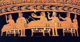Men at a symposium, the drinking and dining all-male bash of ancient Greece