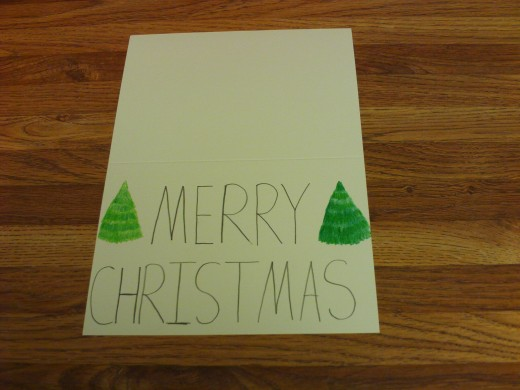 I decorated each side of the Christmas card with a tree.