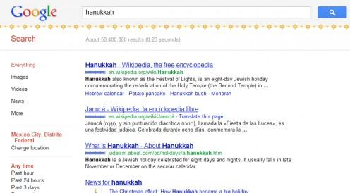 Google Hanukkah results