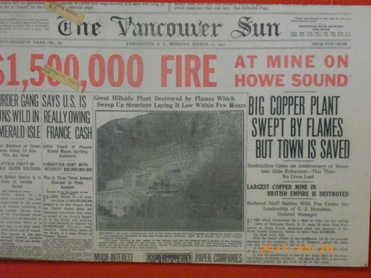 This headline is about a company town called Britannia that had a fife which burned down the main ore processing plant burn to the ground in suspicious circumstances. Britannia was a copper mine that was a company town isolated in Howe sound,