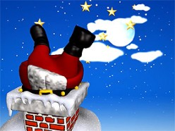 Santa trapped in chimney