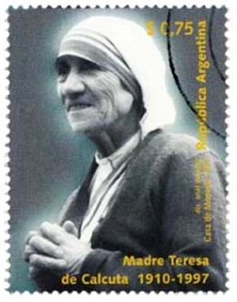 Mother Teresa on Argentina's postage stamp.