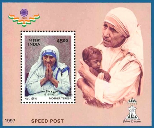 First Day Cover with a high value stamp from India Post honoring Mother Teresa.