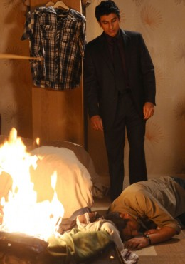 which leads Yusef to get his ultimate revenge when he lights the fire and leaves Masood for dead