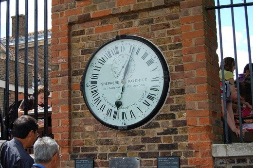 Shepherd Gate Clock, displaying Greenwich Mean Time.