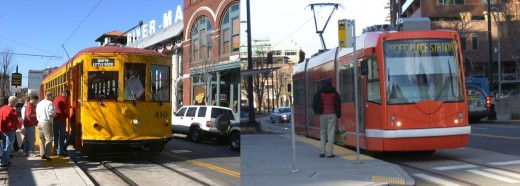 LEFT: Heritage streetcar in Little Rock. RIGHT: Modern streetcar in Seattle.