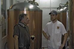 sampling the new brew at Le Pub