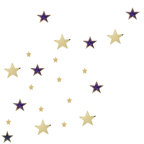 Gold and purple stars scatter lightly over a background.