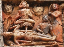 Lord Vishnu in lying position with Lord Bramha sitting on a lotus arising from Lord Vishnu's navel