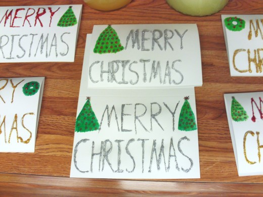 The silver glazed Christmas cards.