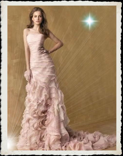 Pink Multi-Tiered Organza Wedding Dress Ebay