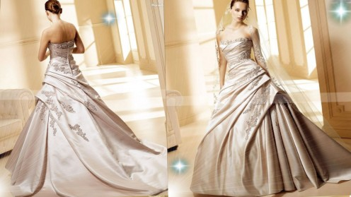 This gold wedding gown the Champagne Wedding Dress is divine.