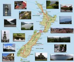 This is a Map Of New Zealand showing some of it's interesting places to visit.