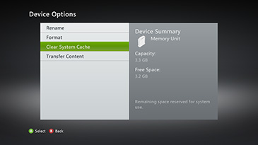 You can clear your Xbox 360's system cache from any of the devices listed in the Storage Devices screen.