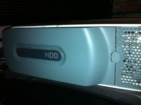 The hard drive is located on the left side of the original Xbox 360 and on the right side of the Xbox 360 S.