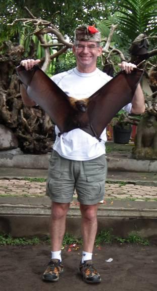 Holding a Fruit Bat in Bali