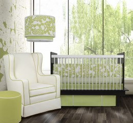 A light green gender-neutral nursery