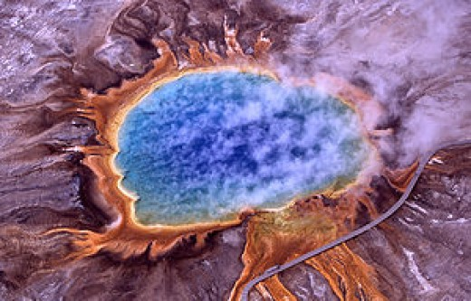 """Thermophiles, a type of extremophile, produce some of the bright colors of Grand Prismatic Spring, Yellowstone National Park"""