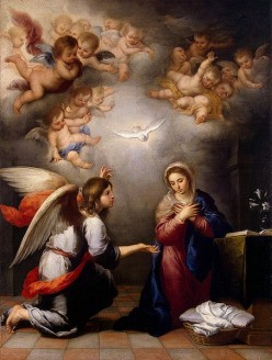 """The Annunciation"" - by Bartolommeo Esteban Perez Murillo (1655) Hermitage Museum, St. Petersburg"