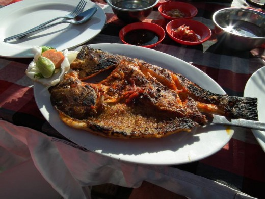 BBQ fish in restaurant at Jimbaran beach