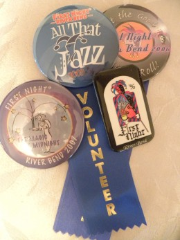 Just some of our First Night River Bend admission buttons we've saved over the years.