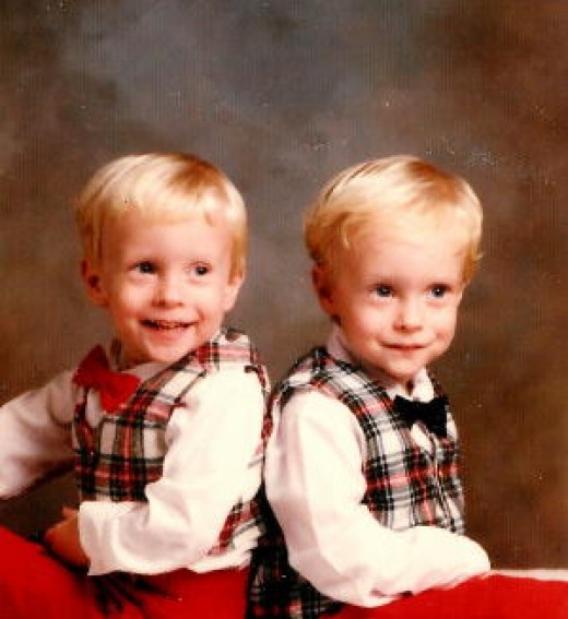 TWO separate outfits I had found for Christmas when our boys were just three years old, so similar except for the different colored bow ties, I couldn't believe I lucked into finding them at the thrift store!