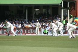 Hussey (far right) in the slips cordon against India in the 2nd Test at the SCG in 2008