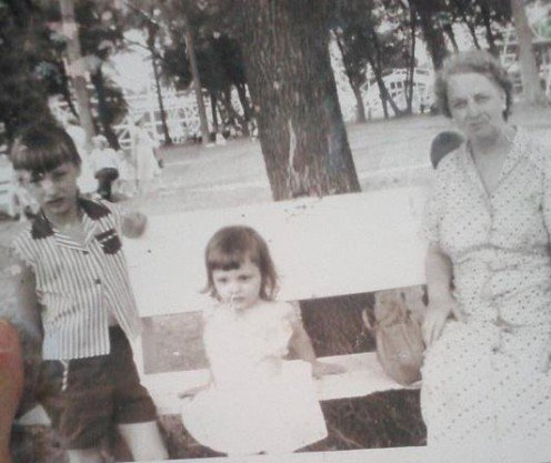 Grandma, my sister and me.