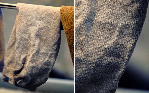 The traditional image of Jesus captured in a sock (Click to enlarge)