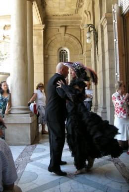 Tango partners dancing on the terrace