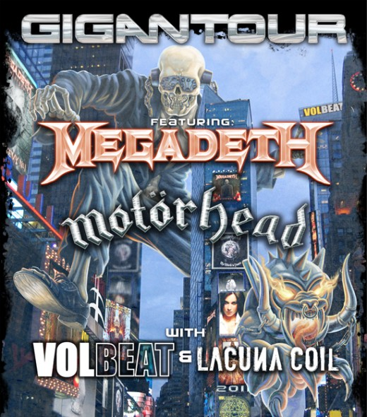 """The 2012 """"GIGANTOUR"""" U.S. tour package in the U.S. featured Megadeth, Motorhead, Volbeat, and Lacuna Coil."""
