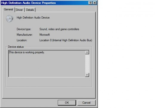 """You can see the status of your sound card by right-clicking the name of your sound card and then clicking """"Properties."""""""