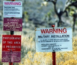 No Trespassing signs at Area 51, the government property where alien remains are allegedly kept