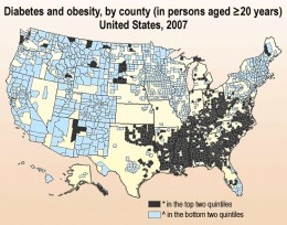 Chart of U.S. counties rates of obesity in 2007